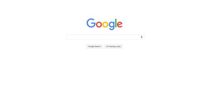 Good use of white space online assessment Google homepage