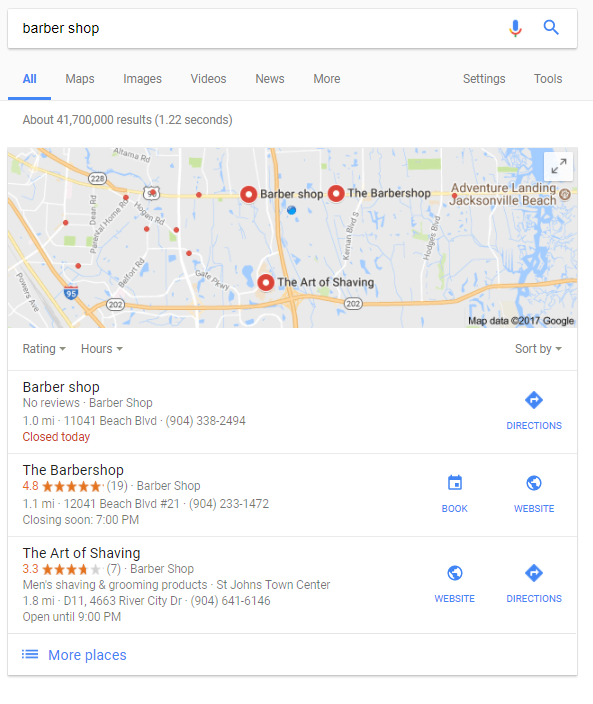 barber shop search results location important for local seo