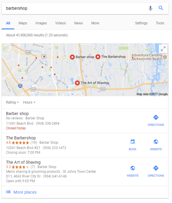barbershop search results location important for local seo
