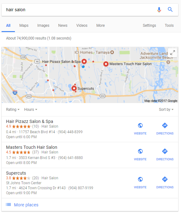 hair salon local organic search results Google maps 3 pack