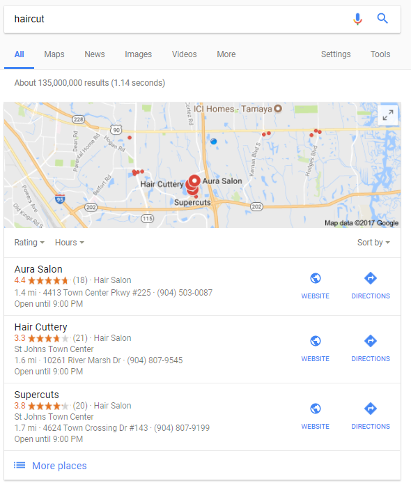 haircut local organic search maps local Google 3 pack 1