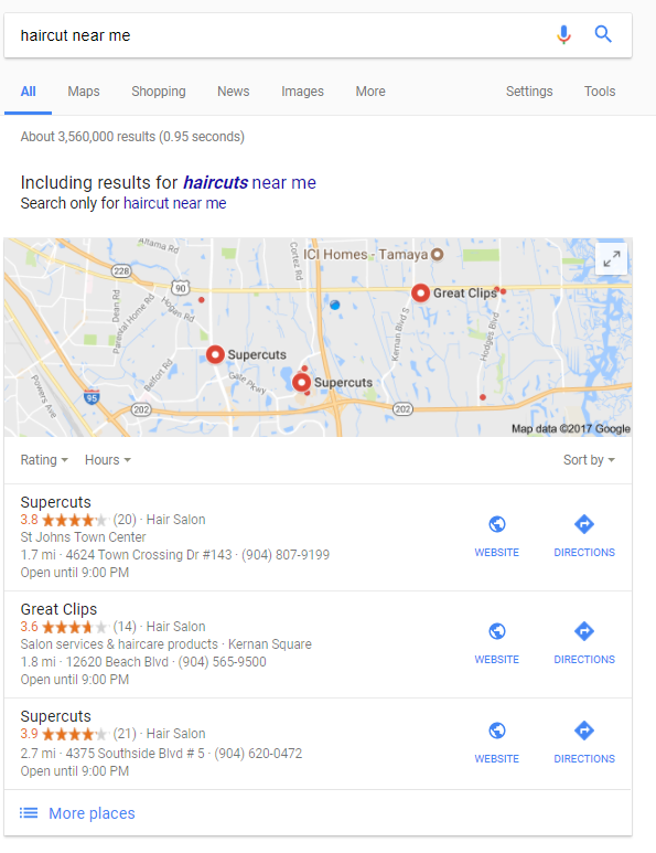 haircuts near me maps google local 3 pack results