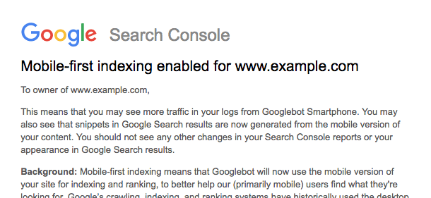 Google search console mobile first index notice about smartphone bot