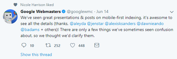 Google webmasters updates clarifications for mobile-first indexing