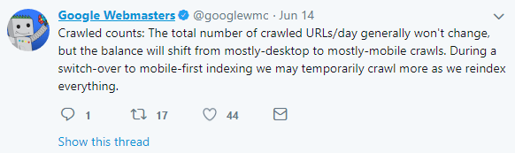 mobile first index clarifications may be more crawls in general during transition