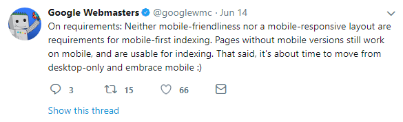 mobile first index clarifications mobile responsive not required for indexing but good