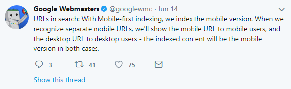 mobile first index clarifications show mobile or desktop depending on device but index mobile version