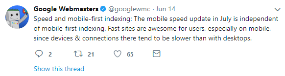 mobile first index clarifications speed update separate from indexing