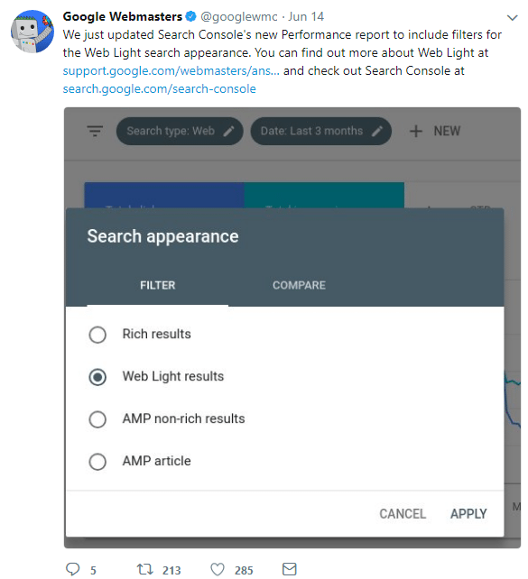 mobile first index updates search console new web light results appearance