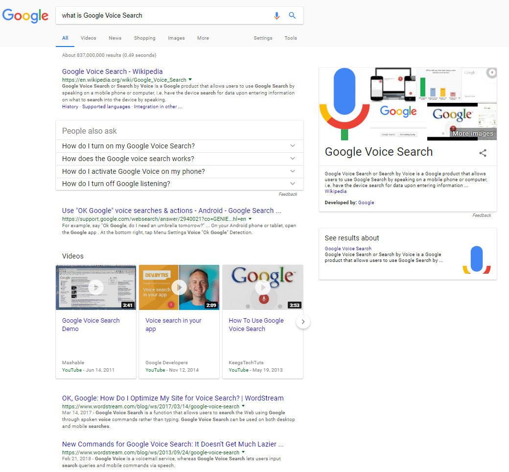 what is google voice search google results with wikipedia number one