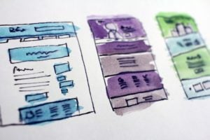 sketches of web page designs.