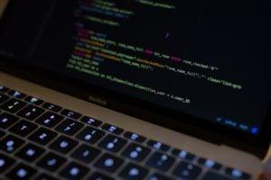 Screen showing code.