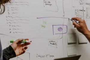 Hands pointing at white board design plans.