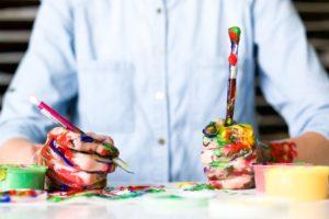 Creative worker seeking benefits of content marketing.